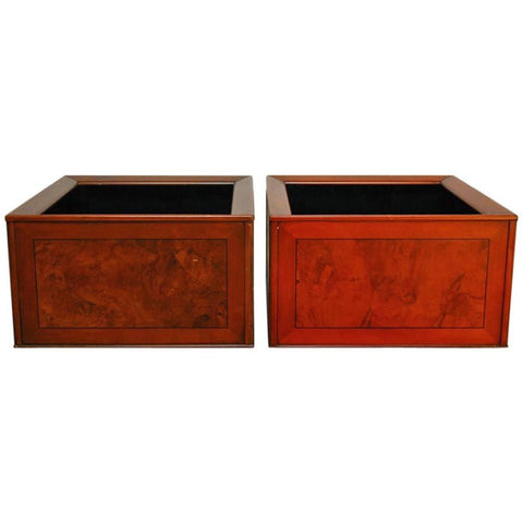 Pair of Italian Planters with Burl Wood Insets