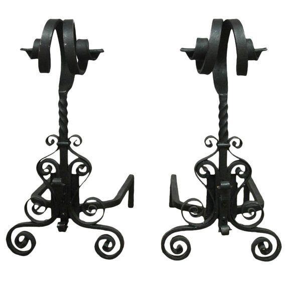 Pair of Arts & Crafts Ram's Head Wrought Iron Andirons