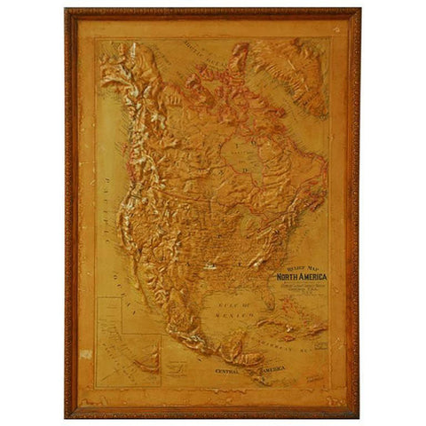 1906 Framed Relief Map of North America