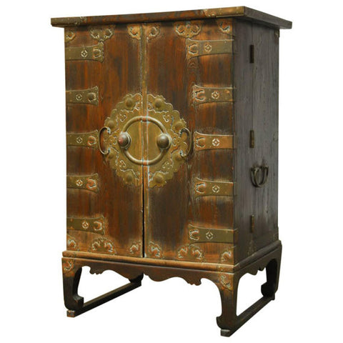 Korean Campaign Style Secrétaire Cabinet Chest with Desk