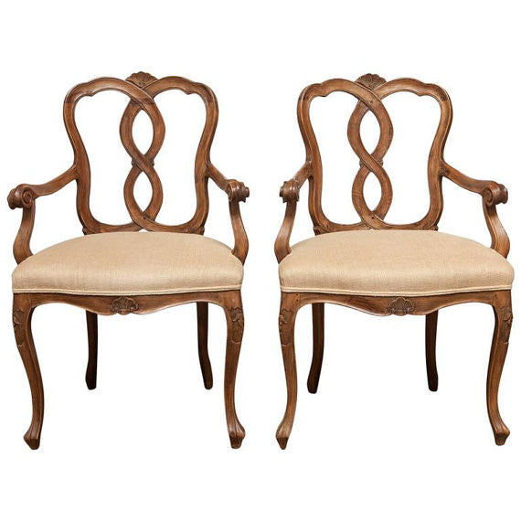 Pair of 19th Century Italian Walnut Rococo Armchairs