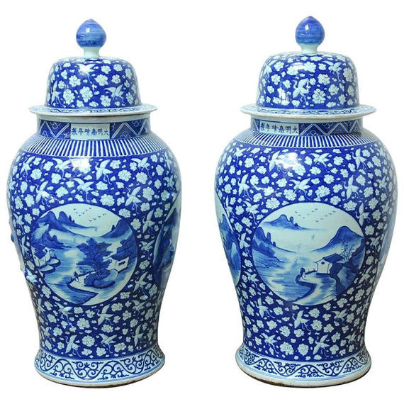 Monumental Pair of Chinese Blue and White Temple Ginger Jars