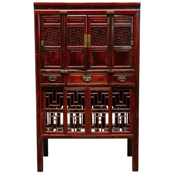 Chinese Lacquered Kitchen Cabinet with Lattice Doors  sc 1 st  Erin Lane Estate & Chinese Lacquered Kitchen Cabinet with Lattice Doors \u2013 Erin Lane Estate