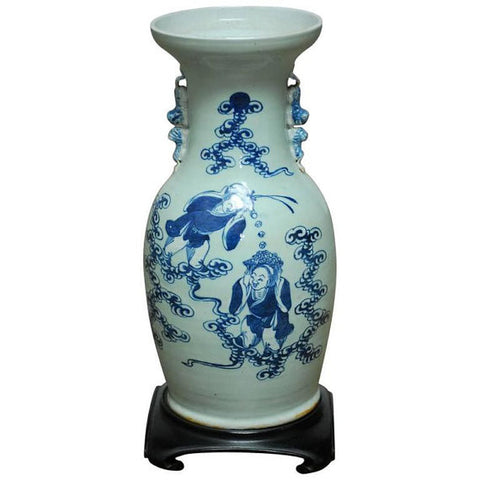 Chinese Porcelain Hehe Erxian Blue and White Baluster Vase