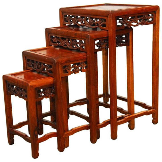 Merveilleux Nest Of Four Chinese Rosewood Stacking Tables