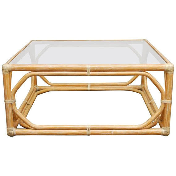 McGuire Bamboo Rattan Cocktail Table