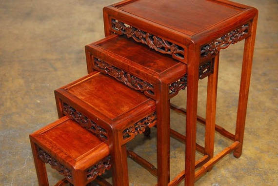 ... Nest Of Four Chinese Rosewood Stacking Tables ...