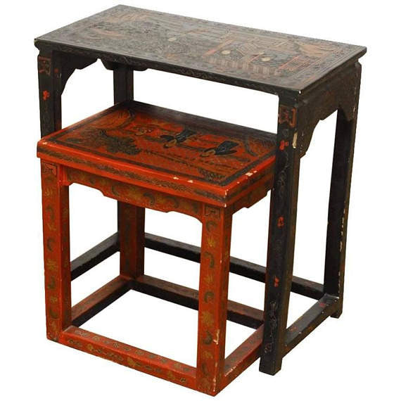 Pair of Chinese Coromandel Style Lacquered Tables