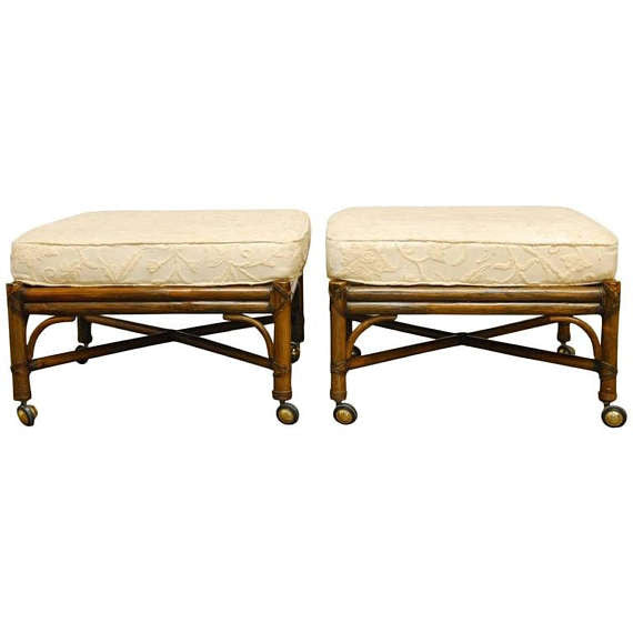 Pair of McGuire Bamboo Rattan Ottomans with Cushions