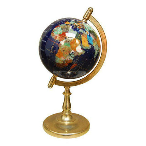 Pietra Dura Globe on Silvered Brass Stand