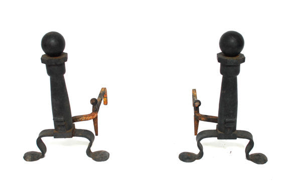 Wrought Iron Cannonball Andirons