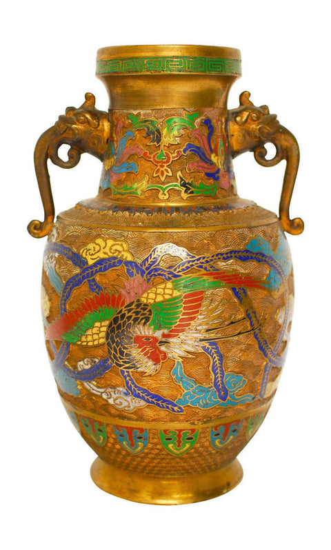 Asian Champleve Brass Dragon Vase