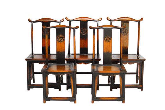 Chinese Carved Yoke Back Hat Chairs Set Of 5