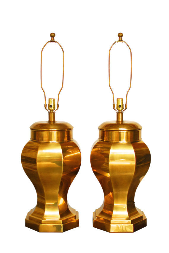 Monumental Chinoiserie Brass Ginger Jar Lamps