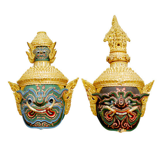 Thai Khon Masks Headdresses-A Pair