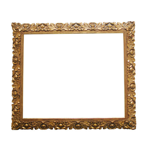 19th Century Carved Giltwood and Gesso Baroque Frame