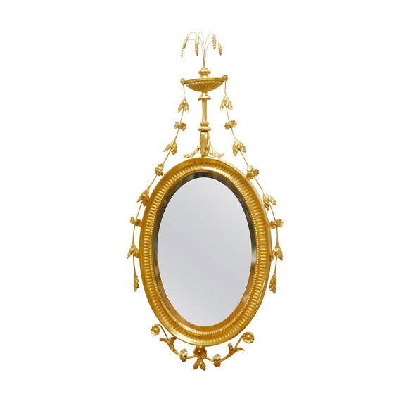 George III Adams Style Oval Giltwood Mirror