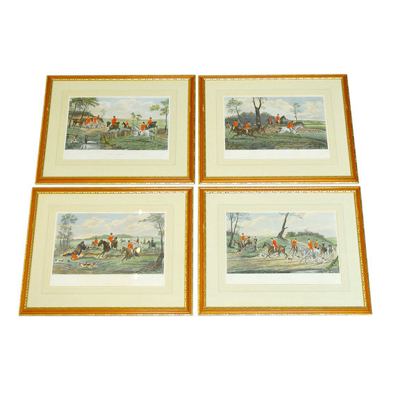 Set of Four Colored Engravings by C.R. Stock After Henry Alken