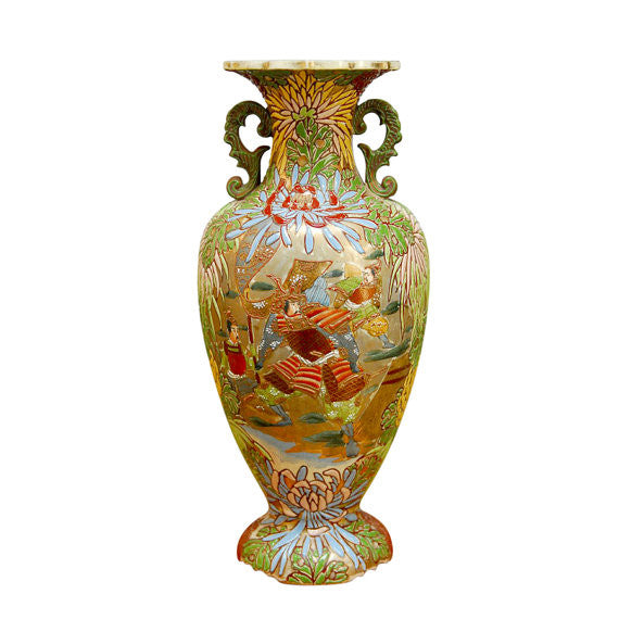 Japanese Satsuma Vase with Hand Enameled Warrior Scene