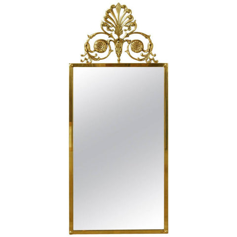Large Solid Brass Art Nouveau Mirror