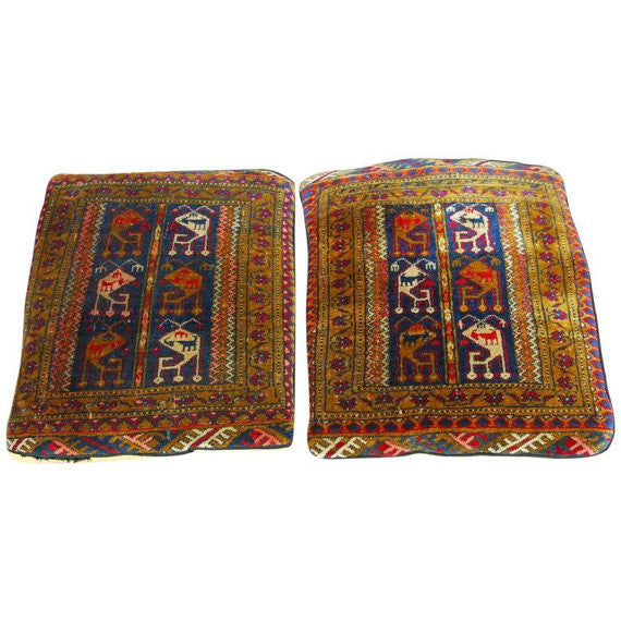 Pair Of Oversized Turkish Rug Pillows