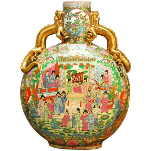 Chinese Famille Rose Moon Flask Vase with Dragon Handles