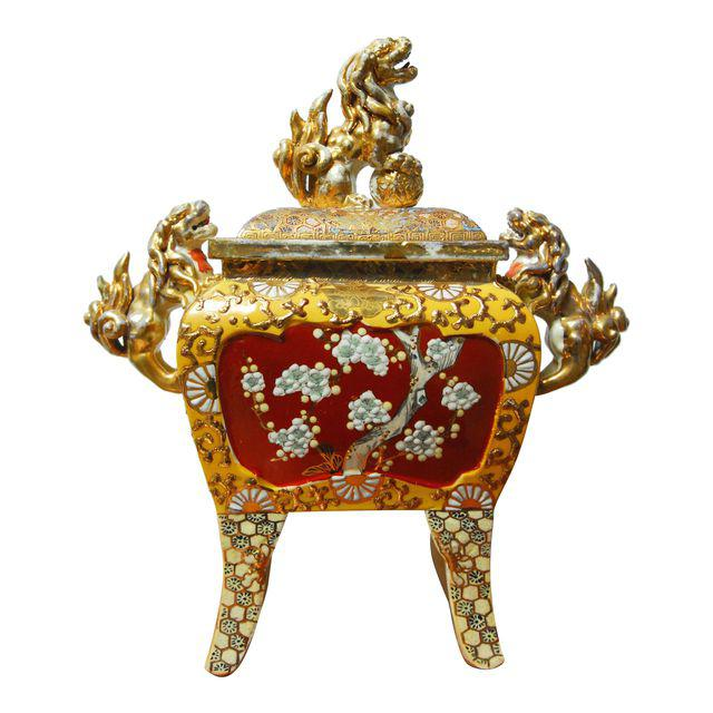 Large Japanese Satsuma Censer with Foo Lions