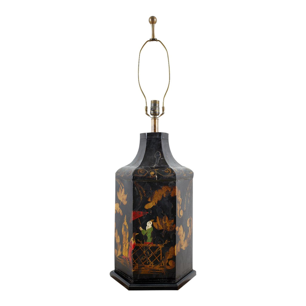 English Chinoiserie Style Tole Tea Canister Table Lamp