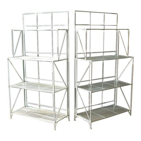 Modern Collapsible Painted Shelves or Racks - A Pair