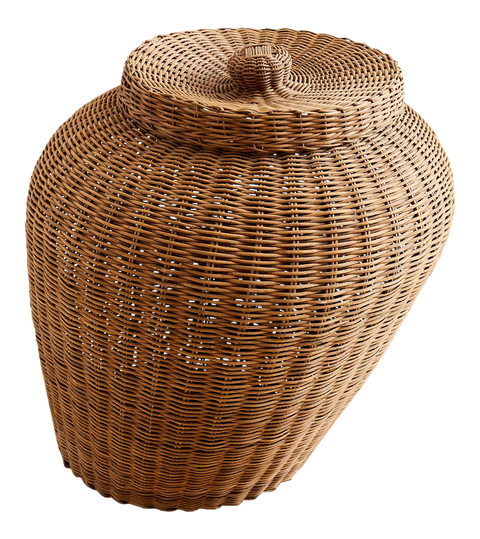 Monumental French Woven Willow Lidded Basket