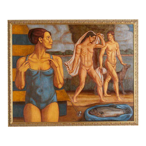 Bather's with Fish Oil on Canvas