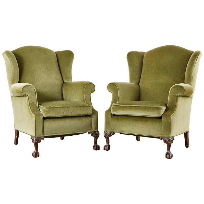 Pair of English Mohair Chippendale Style Wingback Chairs