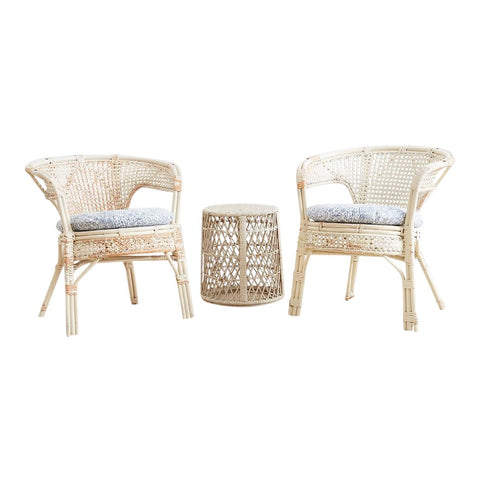 Pair of Whitewashed Rattan Armchairs and Side Table