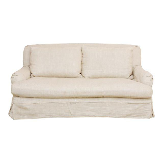 Charmant Restoration Hardware Linen English Arm Slipcover Sofa