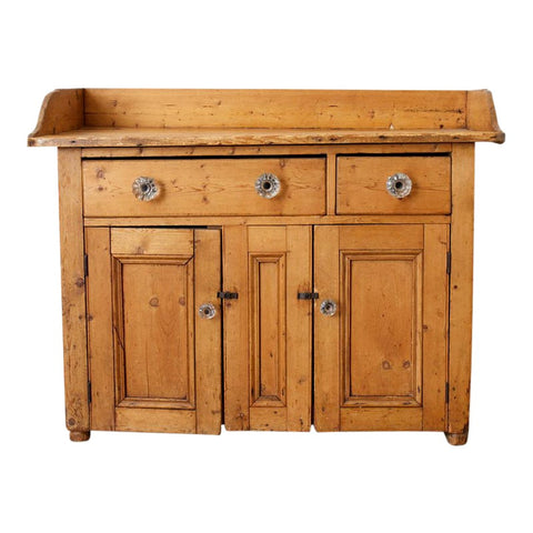 Rustic French Farmhouse Pine Washstand Cabinet