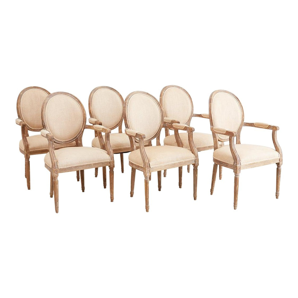 Set of Six French Louis XV1 Style Dining Chairs