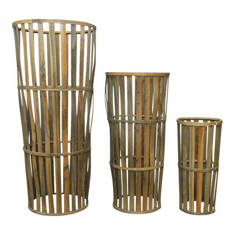 Tall Woven Cellar Baskets- Set of 3
