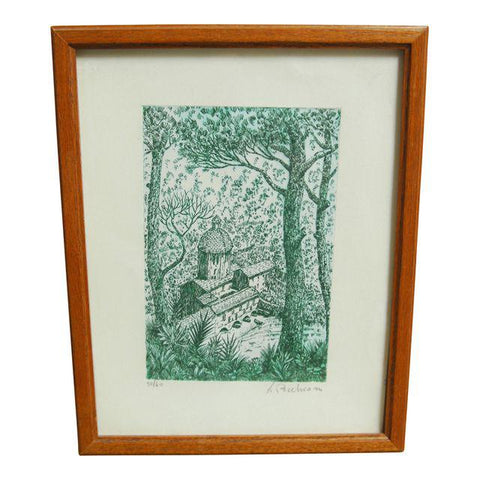 Vintage Green and White Lithograph