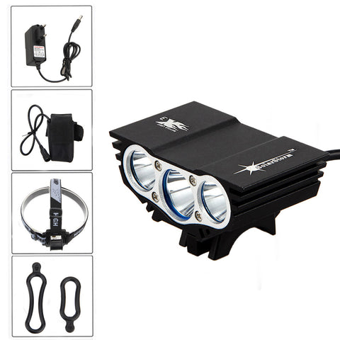 8000 Lm LED Rechargeable Bicycle Light With Headlamp adapter. 12000mAh Battery Pack+ With Charger