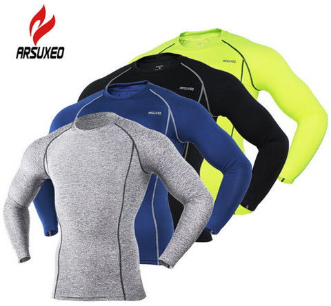 ARSUXEO long Sleeve Men's Breathable Cycling Shirt,  Quick Dry