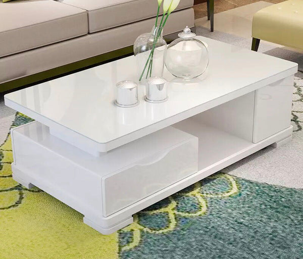 Cady  White Glossy w/ Tempered Glass Center Table ...
