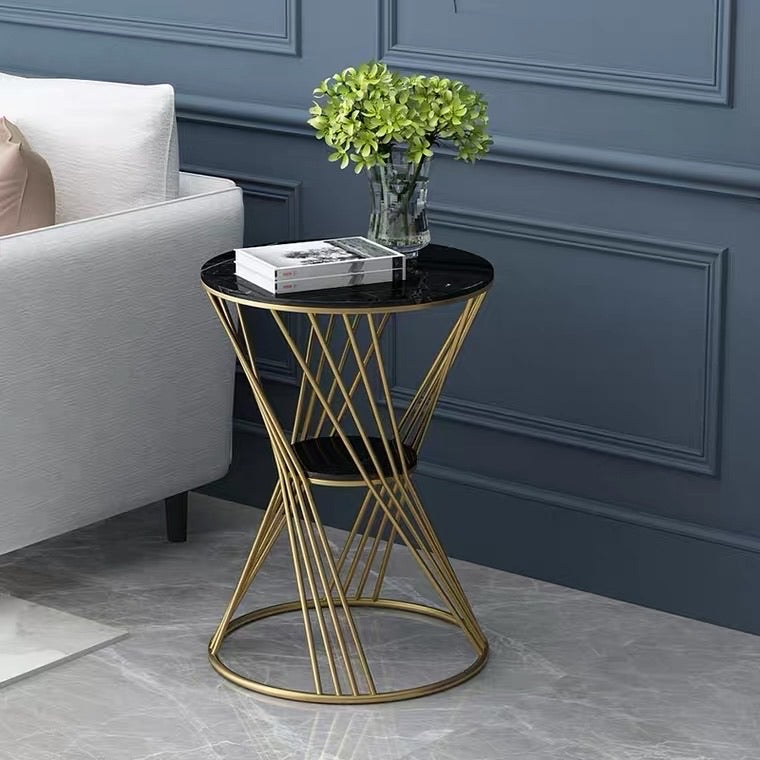 Mish Round Marble & Gold Side Table