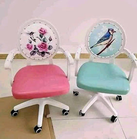 Bird Print Victorian Blue Office Chair