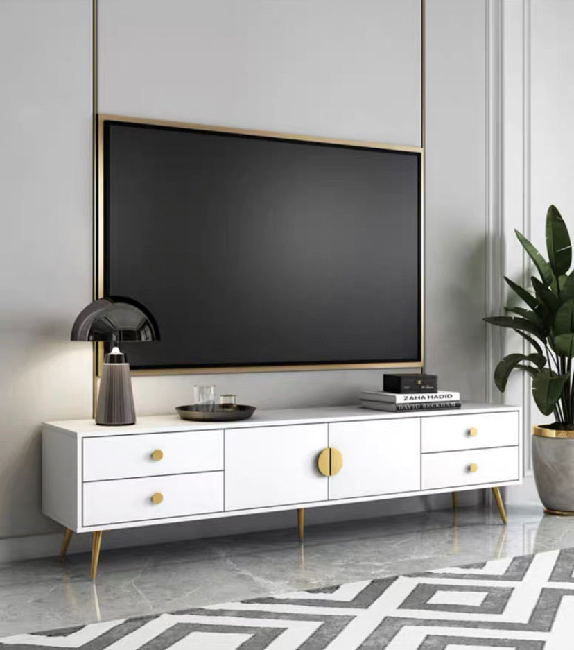 Anastasia White & Gold 140cm TV Rack