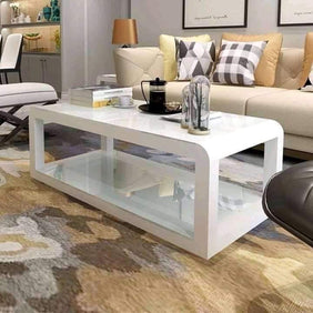 Periwinkle Glass & Steel Center Table