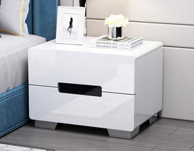 Scuttle 2-Drawer Glossy Side Table