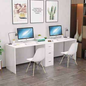 Misty Double Desk Office Computer Study Table for 2 (White)
