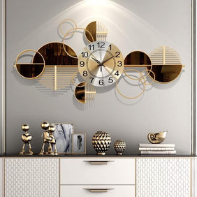Brown & Gold Wall Clock & Decor (Horizontal)