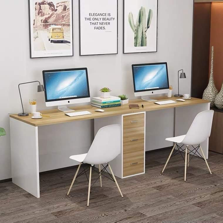Misty Double Desk Office Computer Study Table for 2 (Maple)
