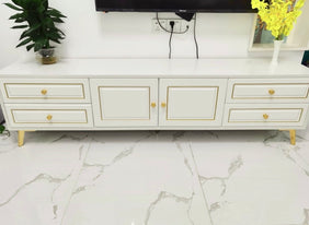 Levana White & Gold TV Rack